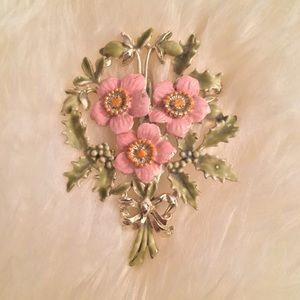 Jewelry - Vintage Bouquet Silver-tone and Enamel Brooch